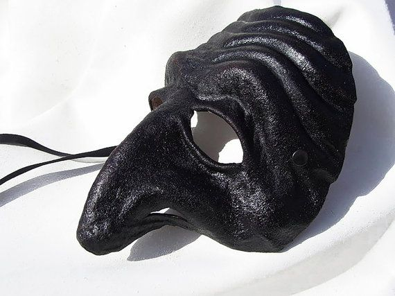 Pulcinella mask black dark leather costume larp by MaschereFabula