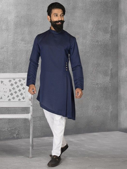 eea5fccd1a Navy Terry Rayon Party Kurta Suit, mens kurta suits, mens kurta designs,  mens kurta pyjama, mens linen kurta, mens kurta designs, mens indian fashion ,