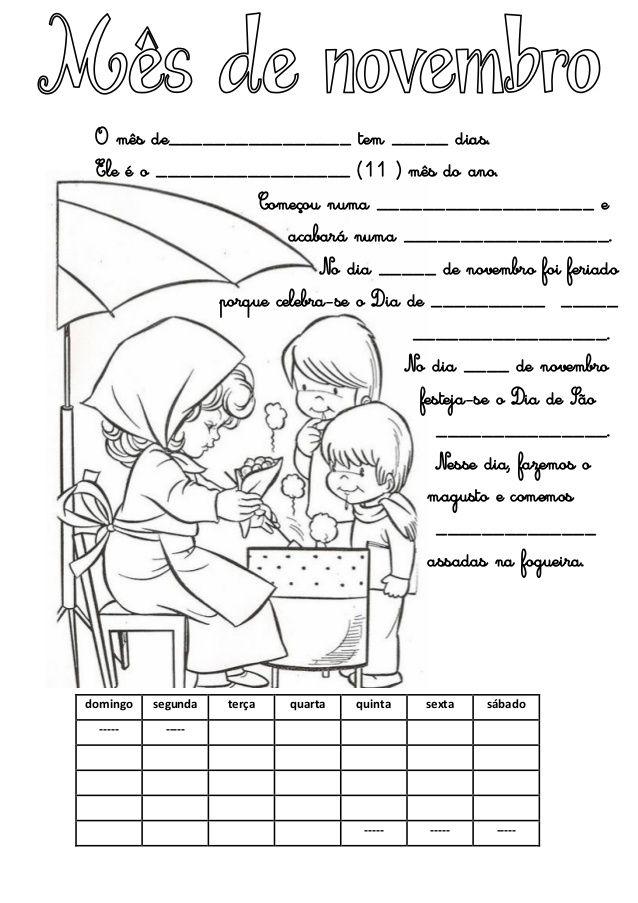 Calendários do mês de novembro 2016