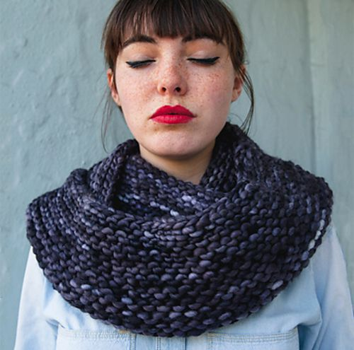 The Cushy Cowl by Davina Choy. malabrigo Rasta. Colorway Pearl Ten.