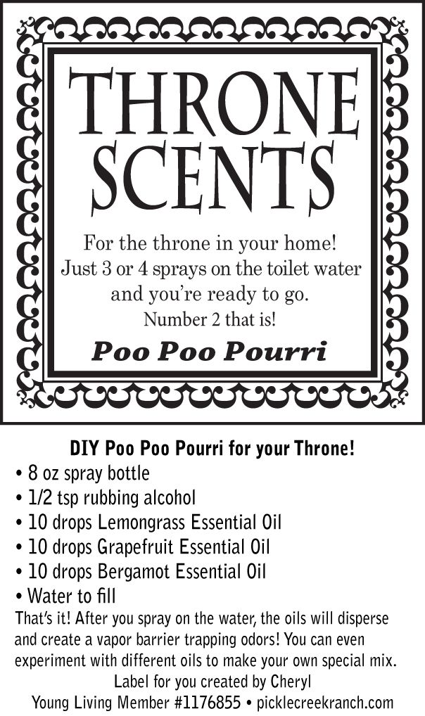 "You will love this!! A DIY poo poo pourri that you can use in your home, office or carry with you wherever you go! :) It really works and it's easy to make.  I can help you buy the oils at a discount! Young Living Member #1176855 www.picklecreekranch.com. ""This statement not intended to diagnose, treat, cure, or prevent any disease."""