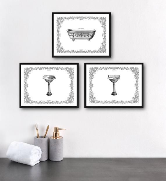 Set Vintage Bathroom Printables 8x10 Inches Just Download Print About This Listing You Will Receive 3 Bathroom Artwork Vintage Bathroom Wall Decor Set