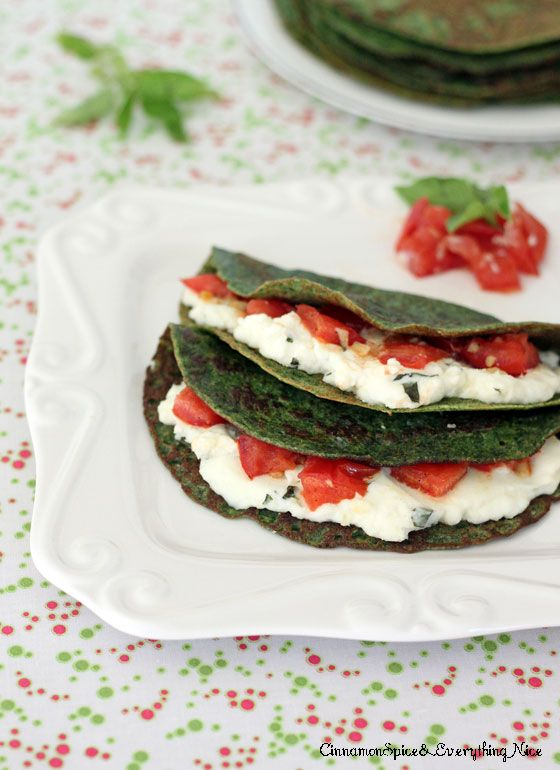 Spinach Crepes with Ricotta, Tomatoes and Basil