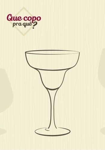 Taça margarita ou coupette: a coupette é mais conhecida como Margarita, porque é usada para tomar esse clássico coquetel, preparado com tequila, suco de limão e licor. Antes de servi-lo, a borda da taça é decorada com sal. No entanto, seu desenho possibilita servir outras bebidas bem geladas ou 'frozen', em quantidades acima de 200 ml