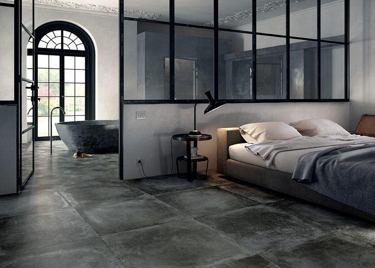Tegels in de slaapkamer? Waarom niet! Met deze enorm grote stoere beton look tegels zorgt u voor een sober, stoer en industriële uitstraling van de slaapkamer!