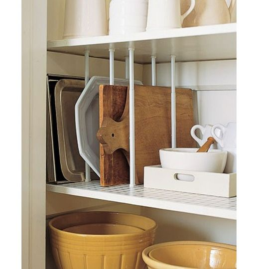 curtain rods for cookie sheet separators...brilliant!