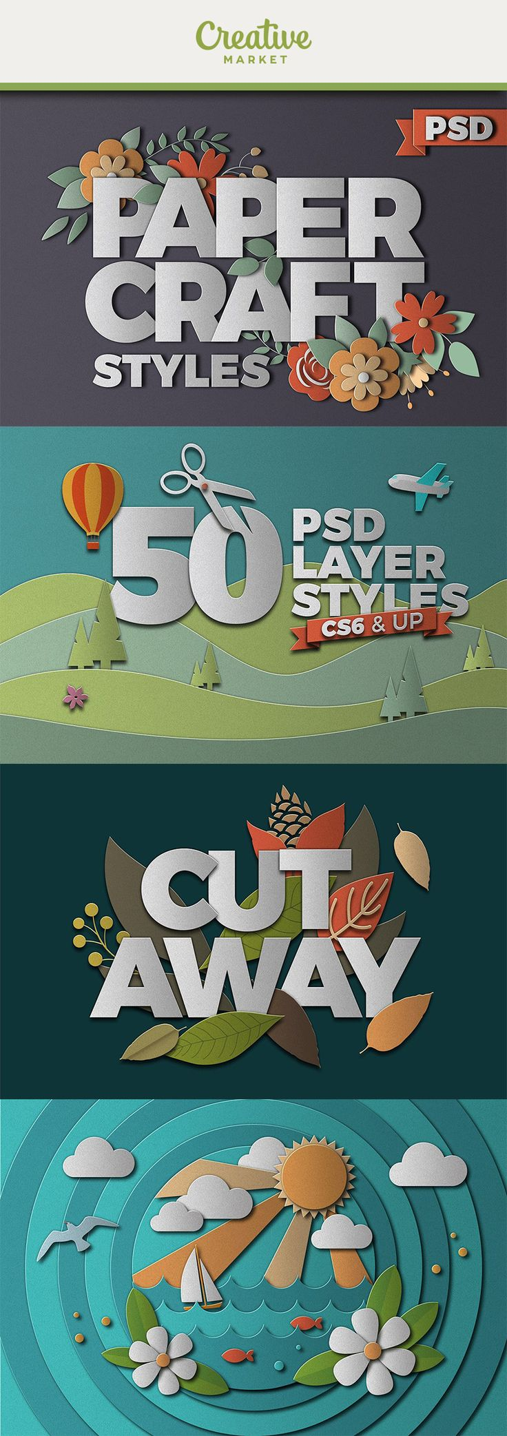 #affiliate Turn your designs into beautiful paper collages in photoshop with one click!Includes 50 paper styles, plus one overlay style to instantly turn your designs to paper. Requirements: Photoshop CS6 to latest CC