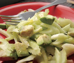 This recipe is one of my favorites.  It's a Chilean celery and avocado salad that is great for an appetizer or just paired with a meal.  Even people who are not crazy about celery will love this!
