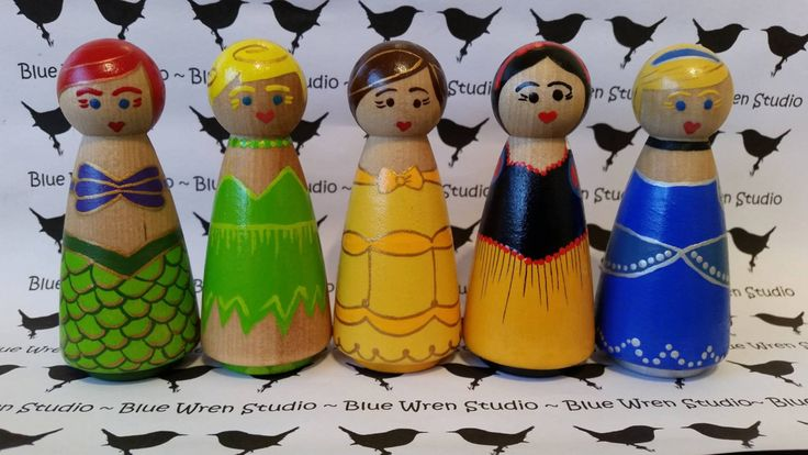 Wooden Peg Dolls - Disney Princesses by bluewrenstudios on Etsy