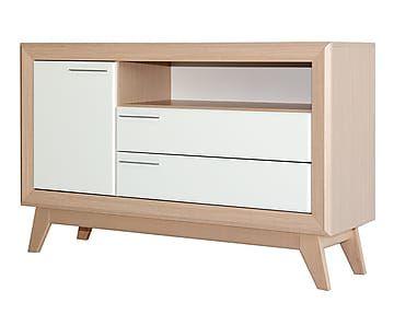 Mueble para tv en madera natural y blanco proyecto for Composiciones modulares para salon