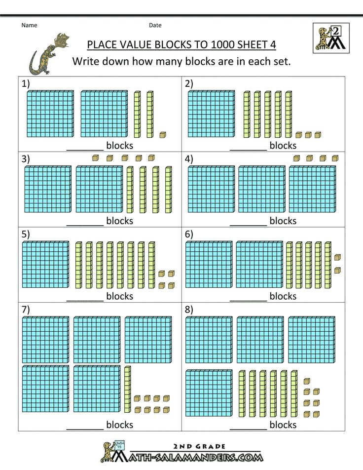 second grade math worksheets place value blocks to 1000 4