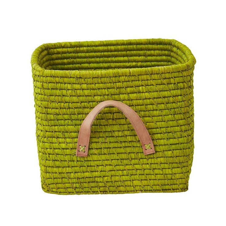 If you are looking for a bright and colourful storage solution, look no further than these quality Raffia baskets from Rice Denmark. They are fairtrade and ethically handmade in Madagascar and are sized at 30 x 30 cm to fit into most popular storage shelving compartments. Made of Raffia with leather handles. Lime green  and fair-trade too!