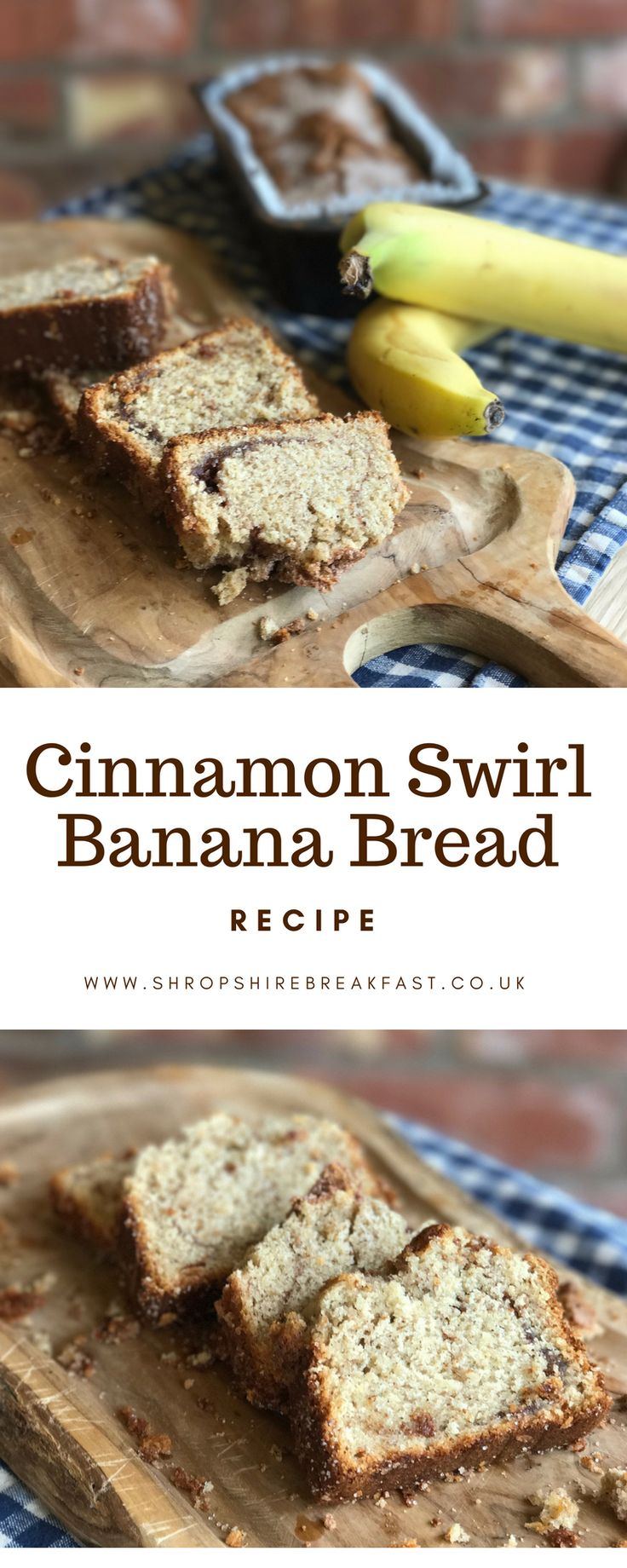 An easy cinnamon swirl banana bread recipe. It's moist and delicious and easy to adapt to make it gluten free or with no refined sugar