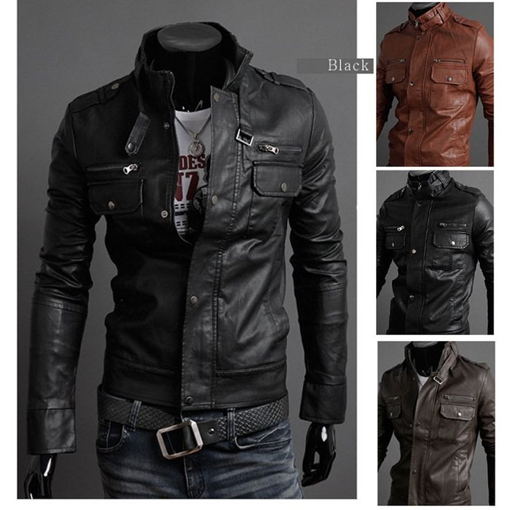 2012 new men's leather jacket Korean catwalks shall Slim leather jacket PU high quality  3 color 4 size hot sale