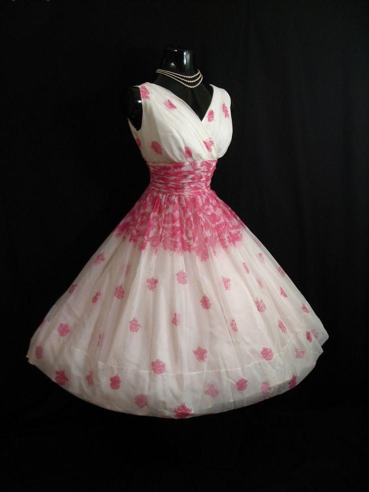 Vintage   50s PINK White Floral Print Chiffon Organza Party DRESS