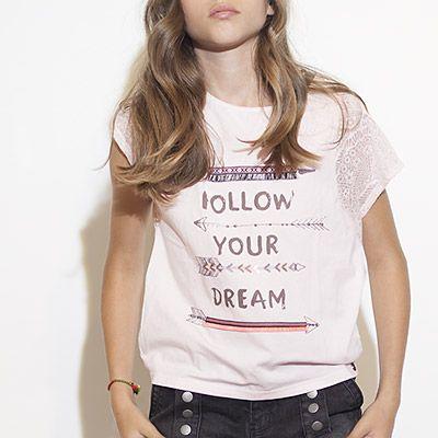 Tee-shirt bi-matière fille IKKS