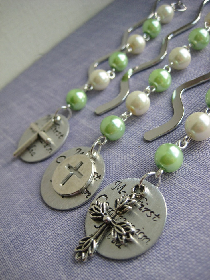 Communion favor bookmark set of TEN. CHOOSE colours styles design. Handstamped charms.. $50.00, via Etsy.