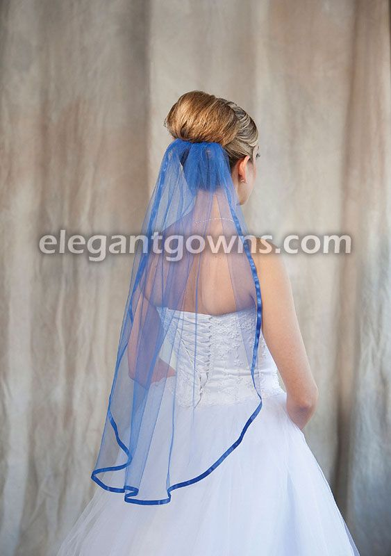 "royal blue wedding | Tier Waist Length Royal Blue Veil with 3/8"""" Royal Blue Ribbon"