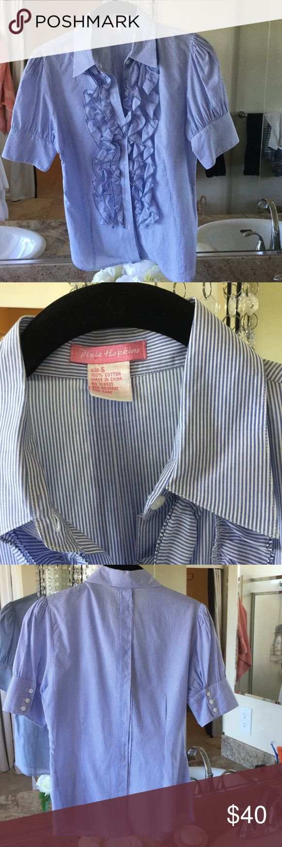 blue- white stripe ruffle front button down shirt Perfect condition ,got it on Victoria secret website ,100%cotton,size Small .fell free to ask questions,and thank you . pixie hopkins Tops Button Down Shirts