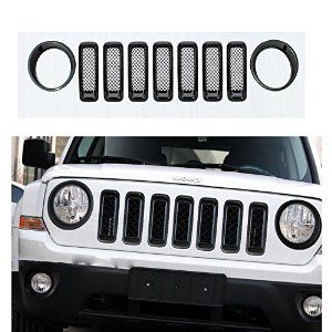 Amazon.com: Moonet Chrome Front Grille Mesh Insert Kit Light Lamp Cover Trim For 2011 2012 2013 2014 Jeep Patriot 9Pcs Black: Automotive