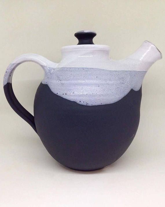 Ceramic Teapot / Handmade Pottery / Black and White