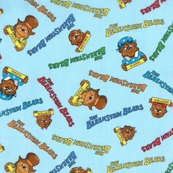 SALE/CLEARANCE The Berenstain Bears Wecome to by luckykaerufabric (Craft Supplies & Tools, Fabric, moda, cute, children, camp, bear, Berenstain, kayak, summer, camping, papa, sister, brother, mama)