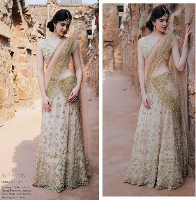 Shimmery gold and white saree , blush peach dupatta , bustier blouse
