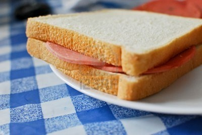 Bologna Sandwichs on White Bread... (sometimes with a Kraft cheese slice too, for variation!)...