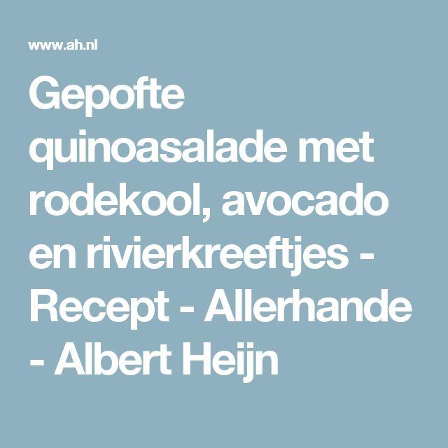 Gepofte quinoasalade met rodekool, avocado en rivierkreeftjes - Recept - Allerhande - Albert Heijn