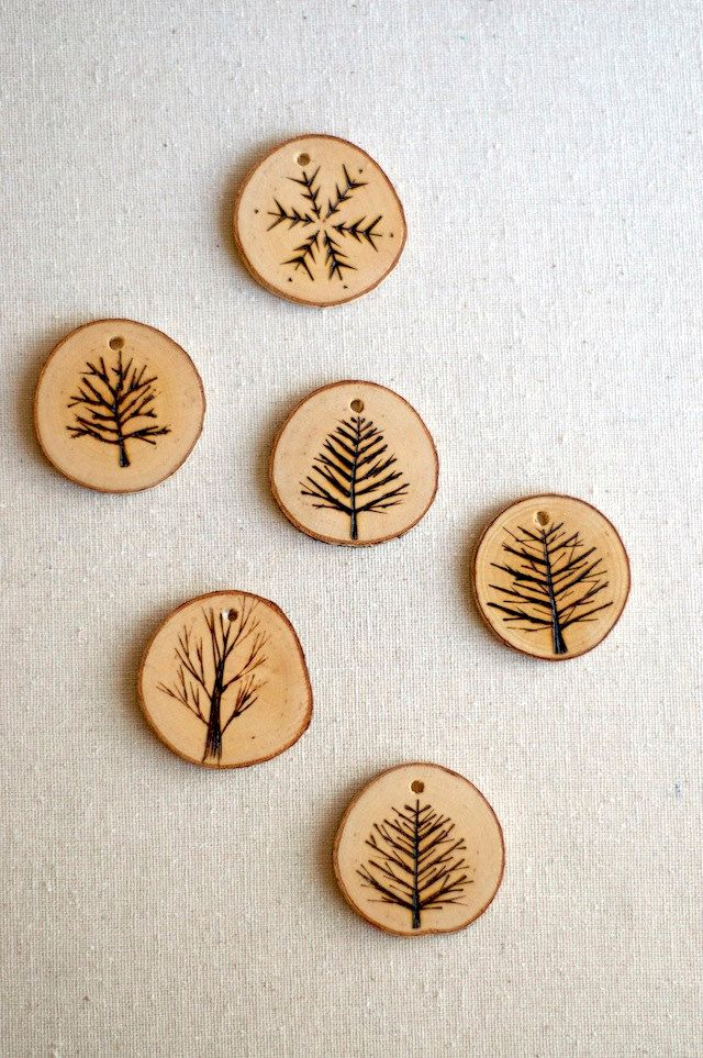 Tree Branch Christmas Ornaments - Wood Burned Trees and Snowflakes -
