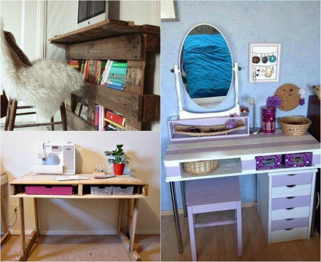 Schreibtisch Selber Bauen Paletten Ideen Stauraum Verwenden