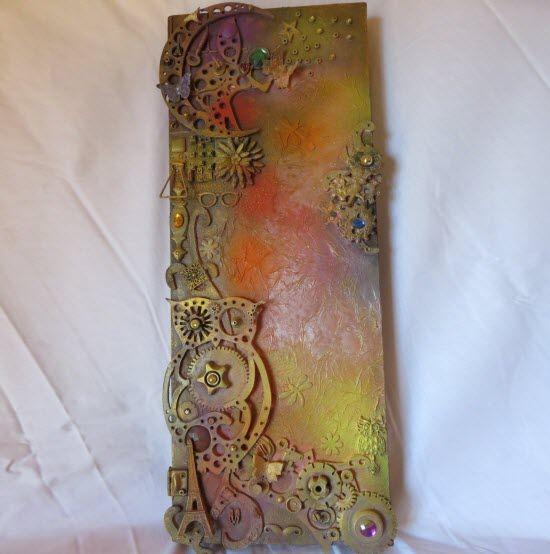 """Mixed media No. by Chris Quinlan Art - 30"""" x  10"""",  Original piece, Acrylic paint, wood, paper on canvas"""