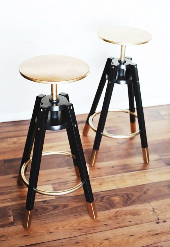 Oh, the magic of gold spray paint. These $40 stools get a glam update thanks to a gilded once-over... IKEA Dalfred Bar Stool