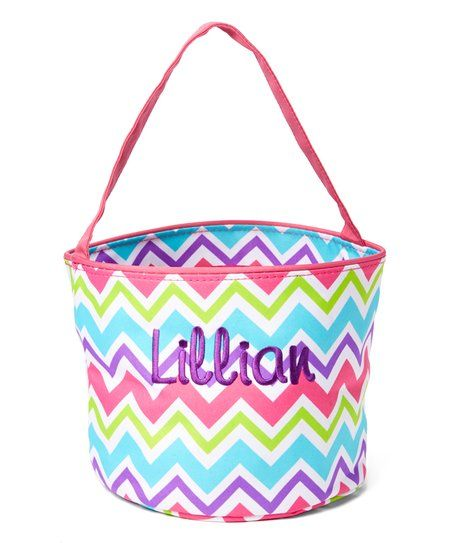 Three Ps In A Pod Rainbow Chevron Personalized Easter Bucket | zulily