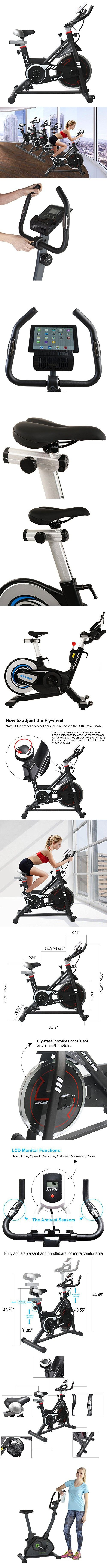 NexHT Fitness Exercise Cycle Bike (89101A) Indoor Spin Workout Cycling Bike w/LCD Monitor& Heart Pulse Sensors,Max User Weight:280lbs,Full Adjustable Health Sport Trainer Stationary Bicycle -Black