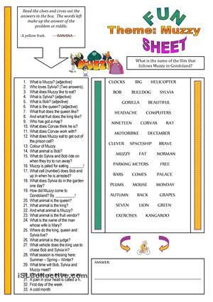This one is for the fans of Muzzy. - ESL worksheets