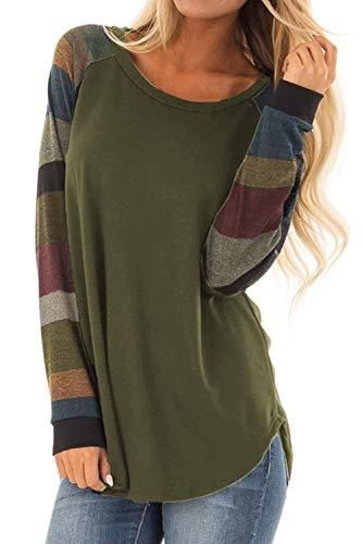 dc16f4d35 Allimy Women Casual Shirts Mutil Color Striped Long Sleeve Tops Blouses