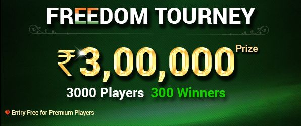 Play #independenceday FREEDOM TOURNEY at #Classicrummy to Win Rs. 3,00,000.Entry free for Premium Players. Register now >> https://www.classicrummy.com/?link_name=CR-12