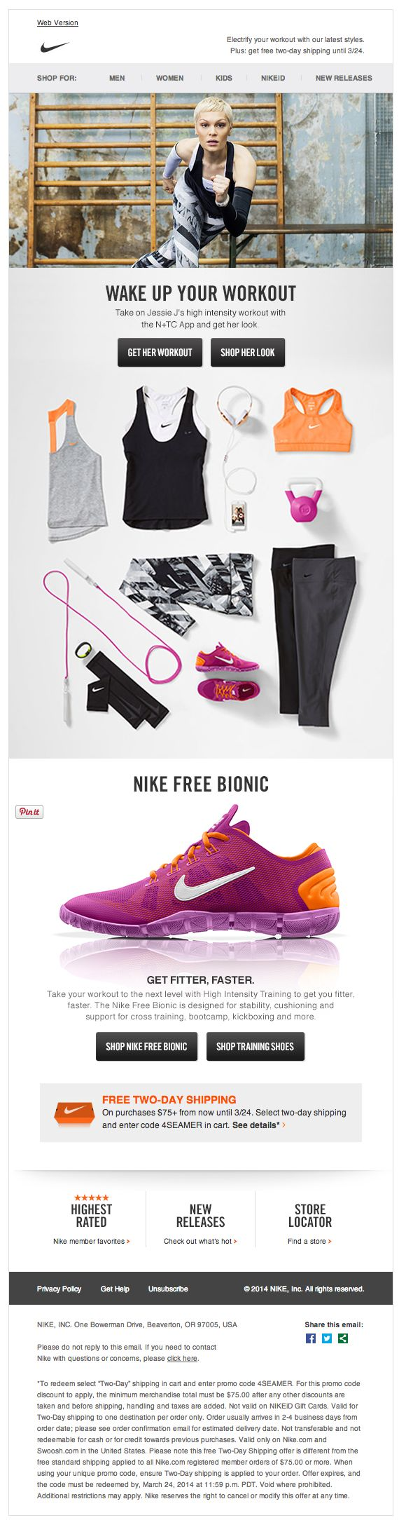 Bright new activewear - Nike email design 2014