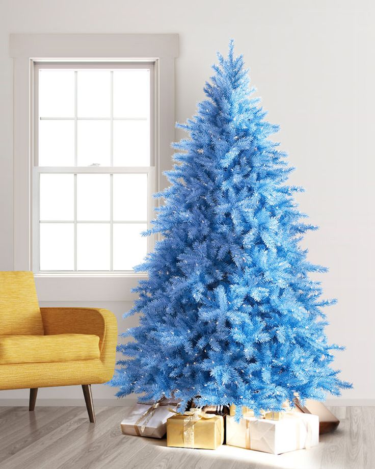 This beautiful blue Christmas tree is suitable for any decorating theme, whether you want to create a winter wonderland with silver and white ornaments, or a soft pastel paradise with baby pink hues.
