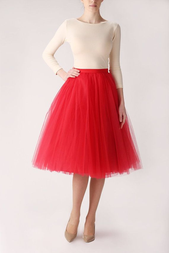 High-quality red long tulle skirt MADE TO ORDER, also good as petitcoat. Made of soft tulle and satin. Perfect for bridesmaids outfit. SIZES    Size