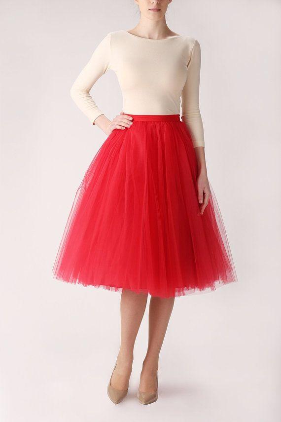 Red tutu tulle skirt