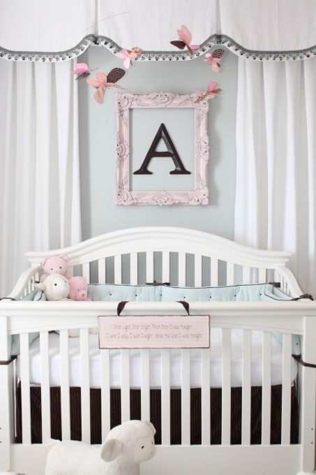 Alexis' Soft and Serene Nursery, This room was created for my newborn daughter Alexis.  I decided on a soft palette of white, robin's egg blue, and brown with pink accents.  This room is very functional, also doubling as a guest room and a place for Mommy and Daddy to be near her while she is young.  I was dealing with poor window placement, strange wall angles, and an unsightly attic door to conceal, so this room was a challenge.  The quilt and bumper were purchased from Restoration…