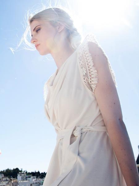 Greek light / Ecru faux wrap dress / signature sleeves / lace trimmings