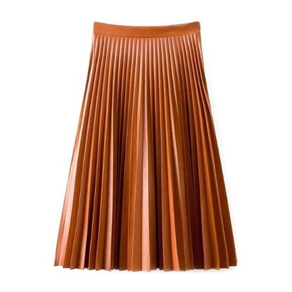 Accordion Pleat PU Leather Skirt (161525 PYG) ❤ liked on Polyvore featuring skirts, accordion skirt, brown pleather skirt, leatherette skirt, brown skirt and knee length pleated skirt