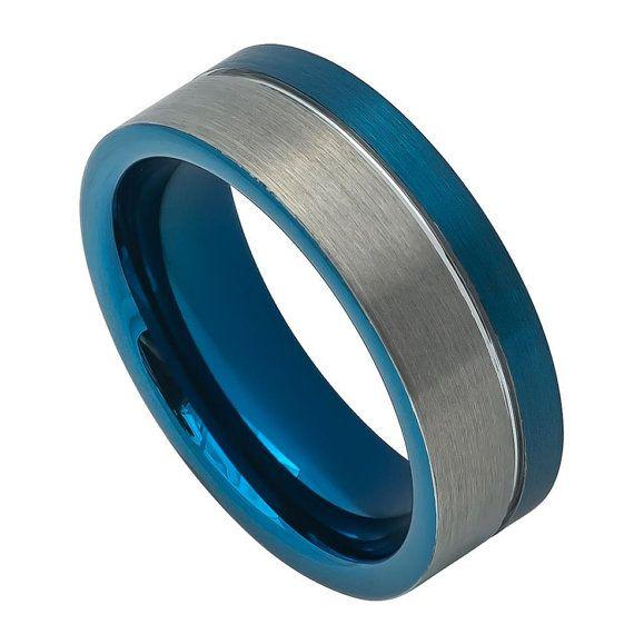 Mens Wedding Band, Mens Wedding Ring, Blue Wedding band, Off-Center Grooved Blue Tungsten, Blue IP Plated Tungsten Wedding Band TR741EL