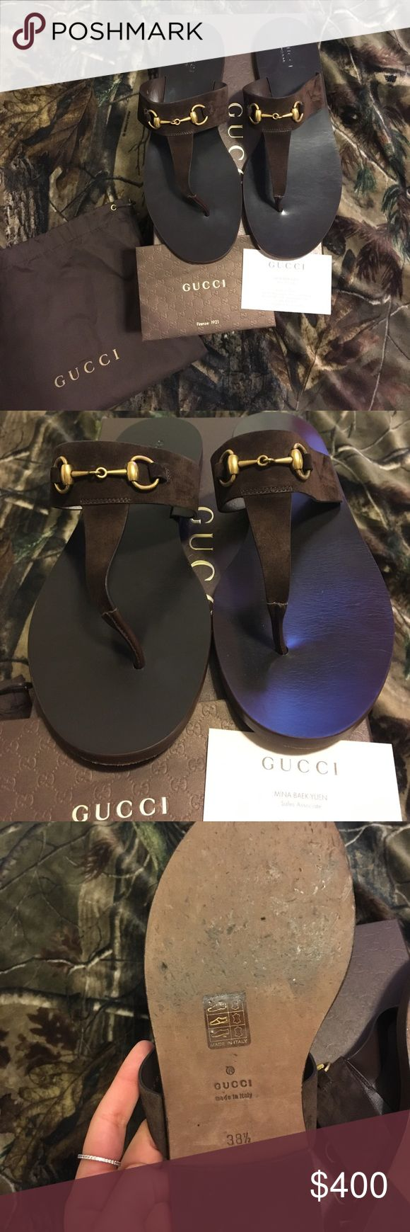 Authentic Gucci Horse-bit Sandals Like new!!! Only worn once! Comes with box, Gucci tissue paper, and dustbag. Purchased from Gucci store at Ala Moana in Honolulu, HI. These are dark brown with gold signature Gucci horse-bit hardware. Extremely beautiful sandals. Size 38.5 EU or 8.5 women's. I paid $495 plus tax! Guaranteed authentic. Will take $350 through 🅿️🅿️ Gucci Shoes Sandals