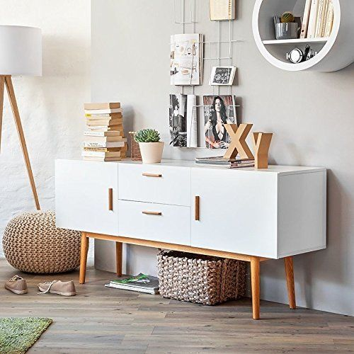 sideboard malm ii kommode wei retro schrank dekor eiche. Black Bedroom Furniture Sets. Home Design Ideas