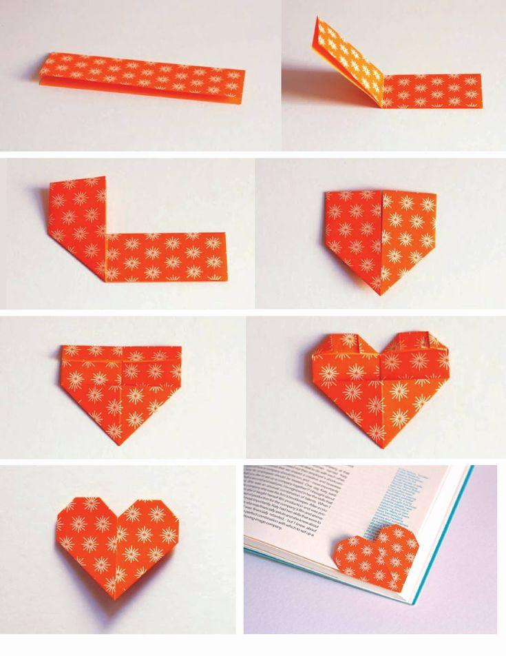 Make a cute heart shaped origami bookmark to keep track of for Easy bookmark ideas