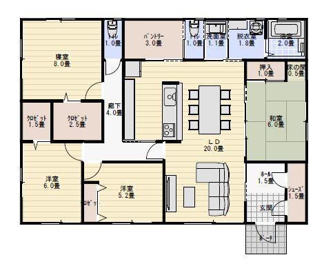 35坪4LDK4人家族で住む平屋の間取り | 平屋間取り